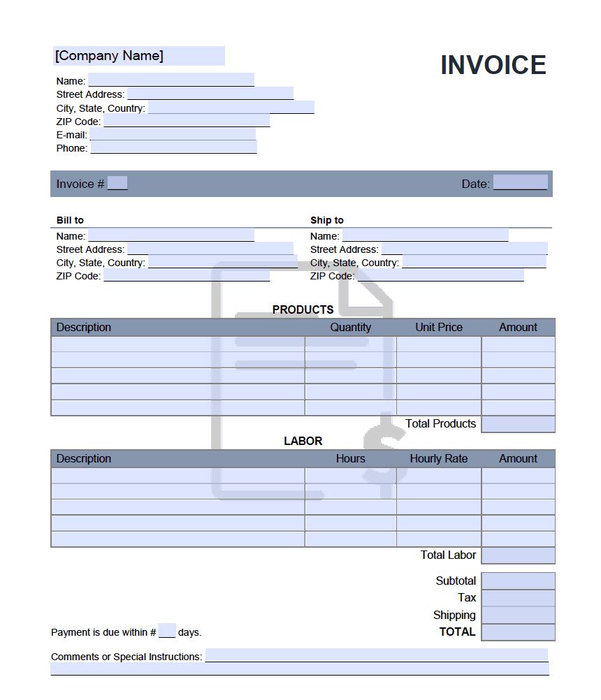 Bid Invoice Template