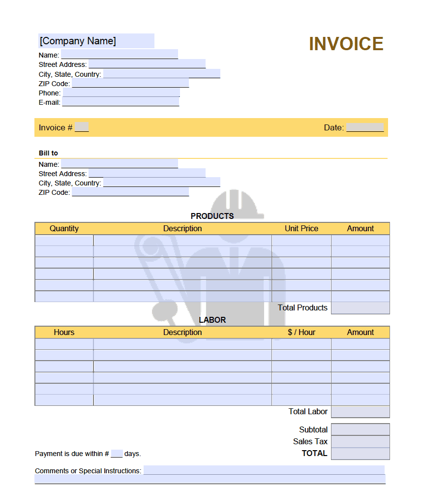 Independent Contractor 1099 Invoice Template