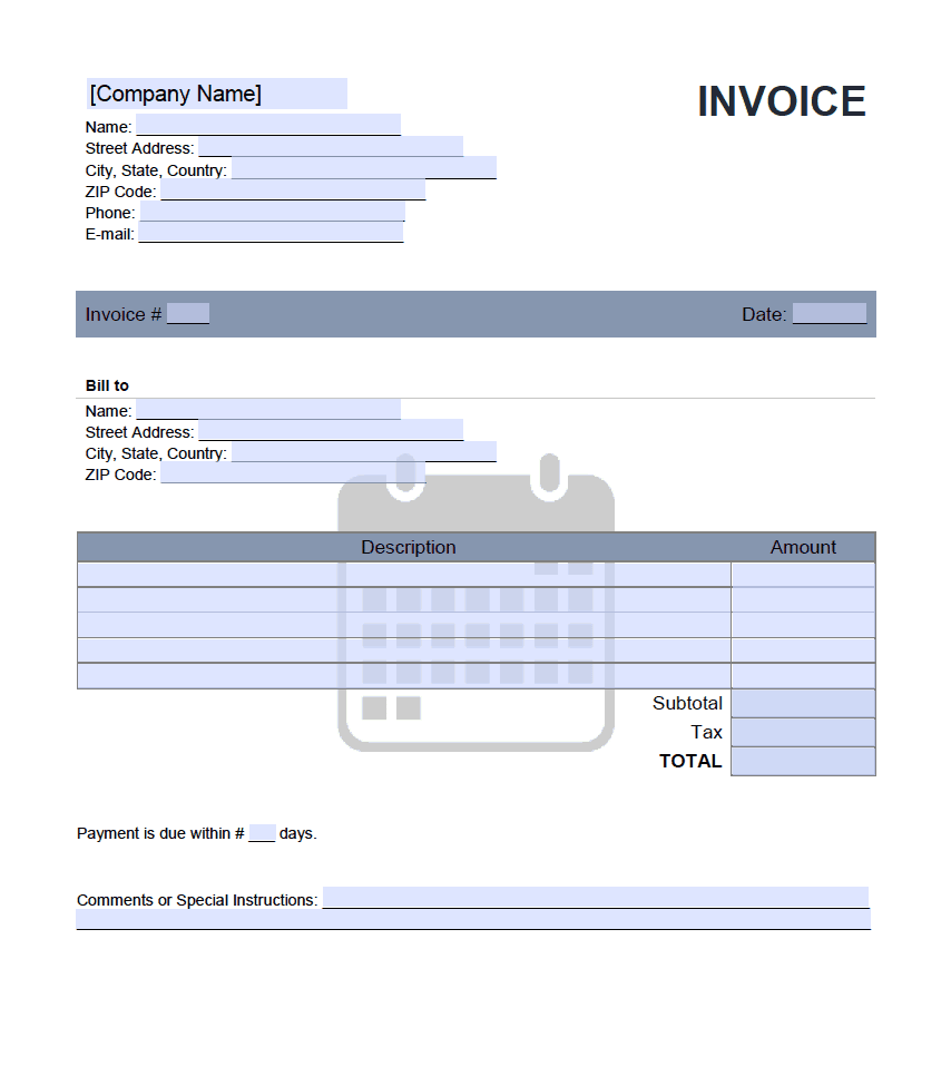 Monthly Rent Invoice Template Onlineinvoice