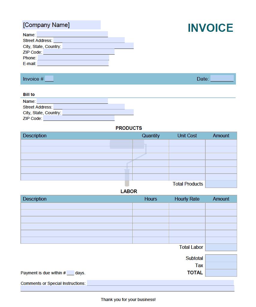 Paint Job Invoice Template