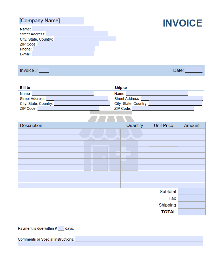 Pharmacy Invoice Template