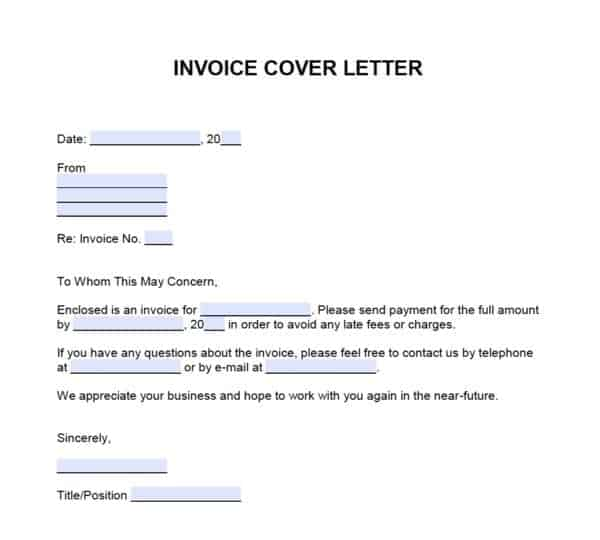Invoice Cover Letter Template