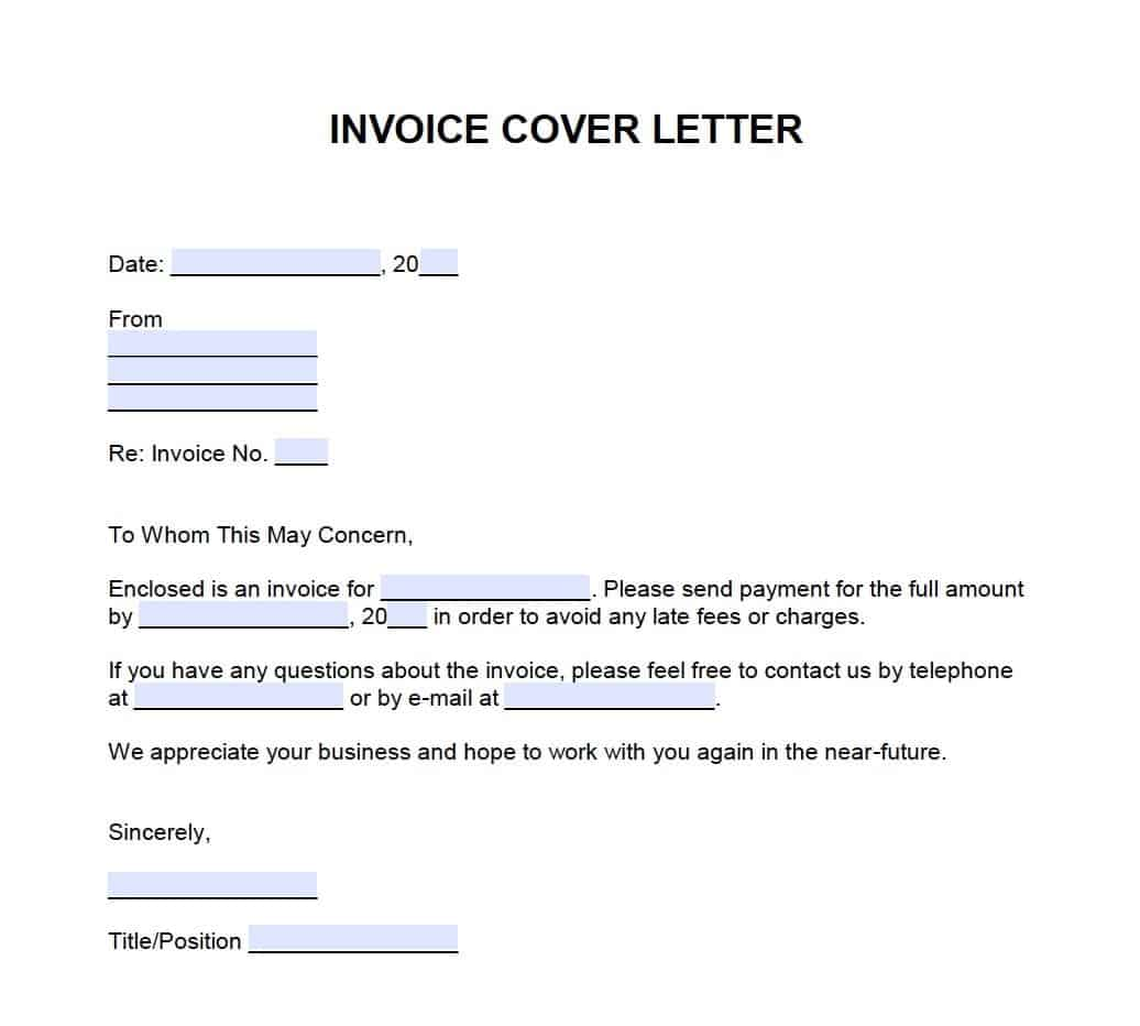 Cover Letter Format Spacing: Invoice Cover Letter Template