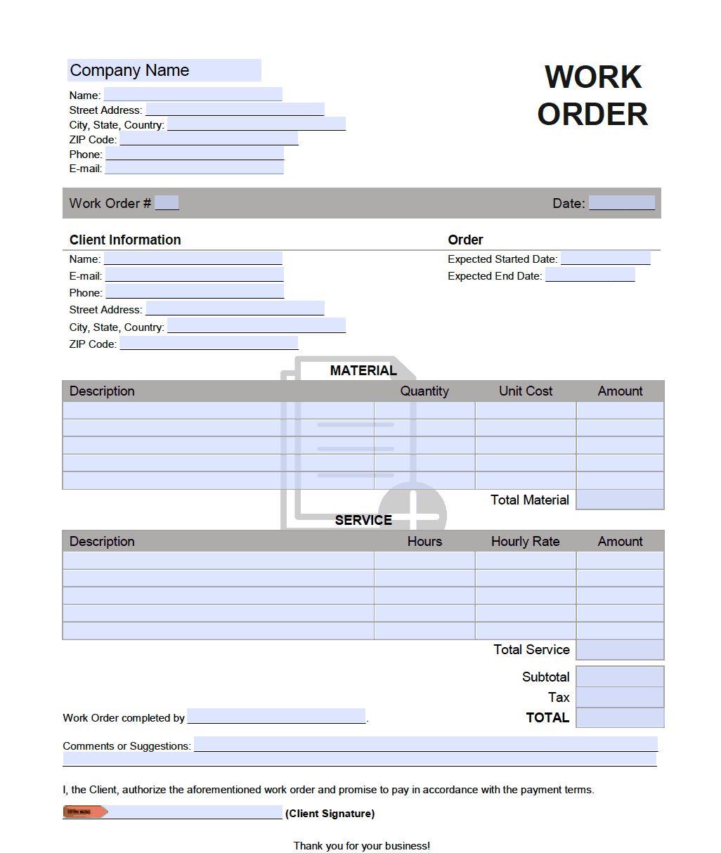 Additional Extra Work Order Template Onlineinvoice Com