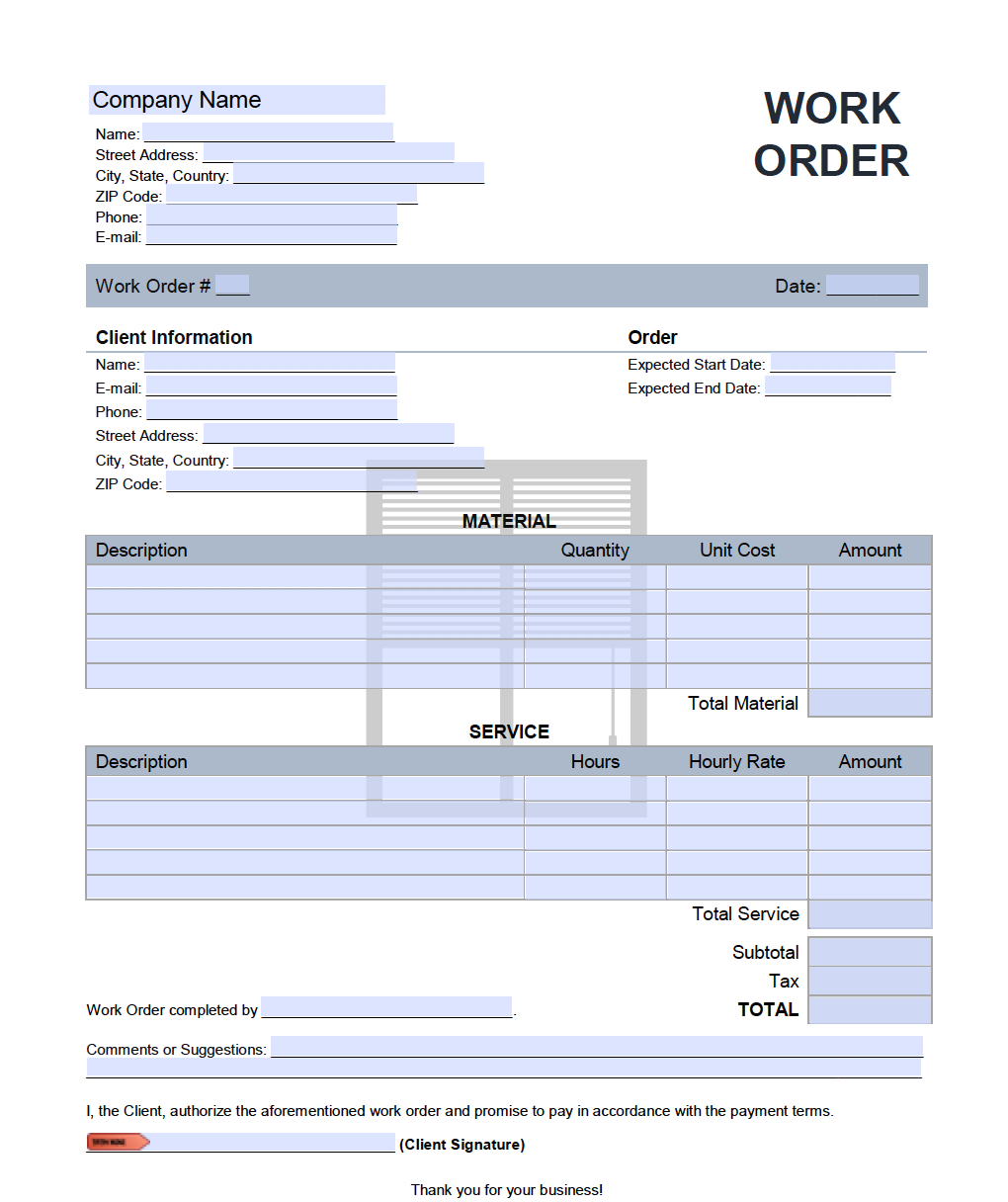 Window Blinds Installation Work Order Template Onlineinvoice Com