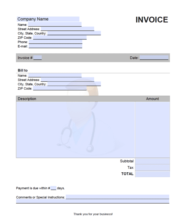 Medical Expert Invoice Template Onlineinvoice Com